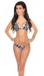 Sexy Triangle-Bikini with chains Zebra