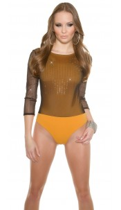 Trendy Glamour- body with net,backside transparent Mustard