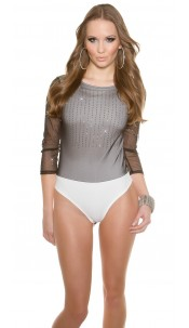 Trendy Glamour- body with net,backside transparent White