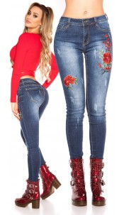 Sexy skinny jeans with rhinestones & embroidery Jeansblue