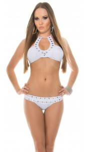 Sexy Neck-Bikini with rhinestones White