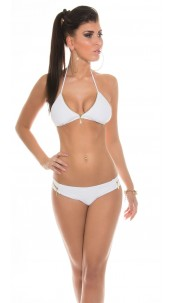 Sexy Neckholder-Bikini with Zip White