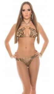 Sexy halter-bikini met ringen luipaard
