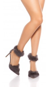 Sexy sling high heels with fake fur Anthracite