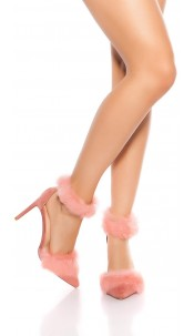 Sexy sling high heels with fake fur Antiquepink