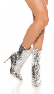 Sexy Party Sequins Ankle Boots Silver