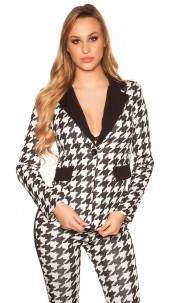 Sexy blazer in houndstooth pattern Blackwhite