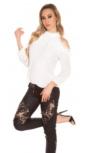 Sexy cold shoulder blouse with lace and flounce White