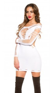 Sexy KouCla Go-Go Mini Dress with Cut Outs White