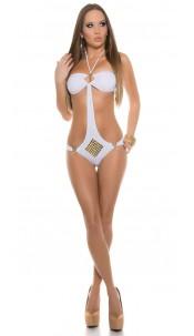 Sexy Neckholder-Monokini with studs White