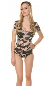 Sexy Body Camouflage Print Pink