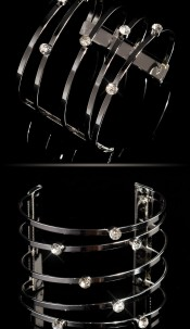 Trendy bracelets with rhinestones Silver