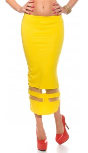 Sexy Midi Skirt with transparent insight Yellow
