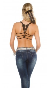 Sexy crop top/bustier with lace & removable pads Black