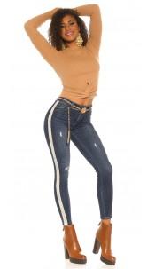 Trendy PushUp Jeans w. embroidery & glitter stripe Jeansblue