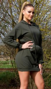 Trendy Hoodie Mini dress with fanny pack Khaki