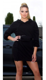 Trendy Hoodie Mini dress with fanny pack Black