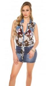 Sexy chiffon blouse with print Black