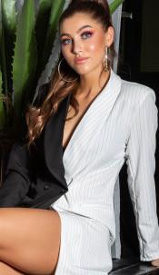 Sexy double-breasted lange jas zwartwit