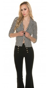 Trendy Blazer with black&white stripes Blackwhite