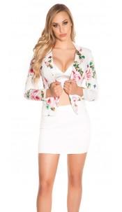 Sexy KouCla blazer floral print White