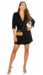 Sexy KouCla long sleeve mini dress buttoned & belt Black