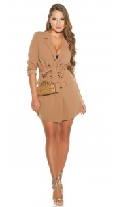 Sexy KouCla long sleeve mini dress buttoned & belt Cappuccino