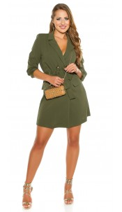 Sexy KouCla long sleeve mini dress buttoned & belt Khaki