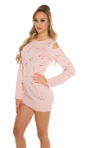 Sexy Coldshoulder Sweater Used Look Pink