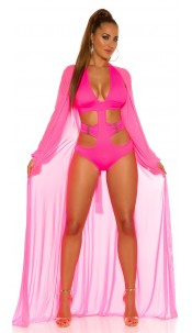 Sexy KouCla long sleeve beach kimono with belt Neonfuchsia