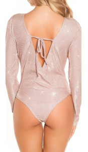 Sexy It s PArTY TImE Glitter Bodysuit Antiquepink