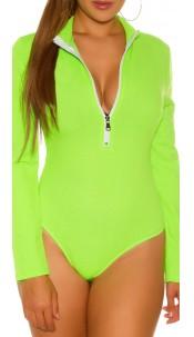 Sexy long sleeve bodysuit with zip Neongreen