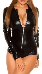 Sexy KouCla Wetlook Body with Zip Black
