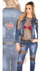 Sexy denim jacket with rhinestones and embroidery Jeansblue