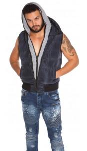 Trendy men vest with hood Navy