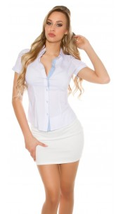 Sexy Short Sleeve Blouse Business Look White