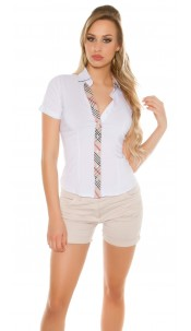 Sexy short sleeve blouse with checkered hem White