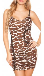 Sexy party dress with chain straps Giraffe