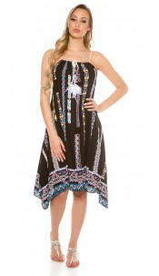 Trendy summer dress asymmetric with print Black