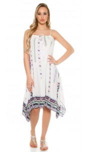 Trendy summer dress asymmetric with print White
