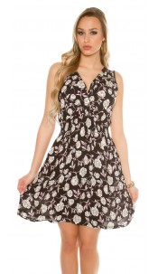 Sexy flowered summer dress V-Cut Black