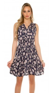 Sexy flowered summer dress V-Cut Navy