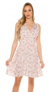 Sexy flowered summer dress V-Cut Pink