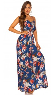 Sexy Summer dress with floral print Blue
