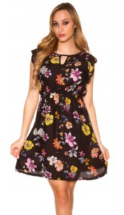 Sexy Summer Minidress flowerprint Black