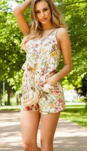Sexy Playsuit Floral Print White