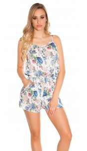 Sexy playsuit with rose print Babyblue