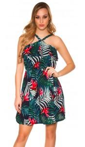 Sexy Mini Dress Floral Pattern Navy