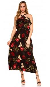 Sexy maxi dress with flounce flowers print Black