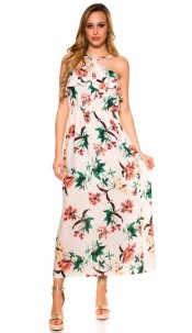 Sexy maxi dress with flounce flowers print Cream